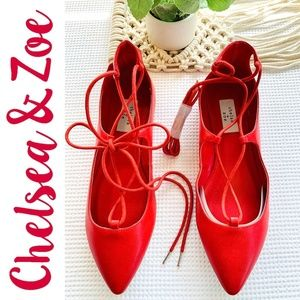 CHELSEA & ZOE New Red Ballet Lace Up Flats